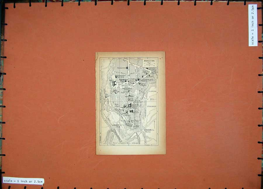 Print 1931 Map France Street Plan Avallon Cousin 104D178 Old Original