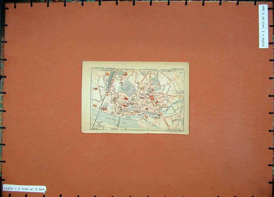 Print 1931 Colour Map France Street Plan Nevers Loire River 107D178 Old Original