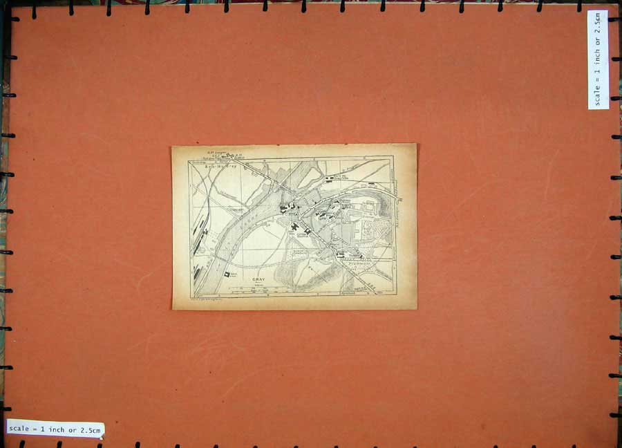 Print 1931 Map France Street Plan Gray River Saone 112D178 Old Original