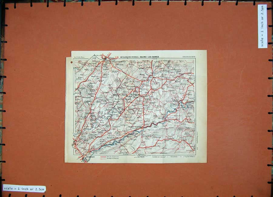 Print 1931 Colour Map France Vesoul Besancon Baume Les Dames 126D178 Old Original