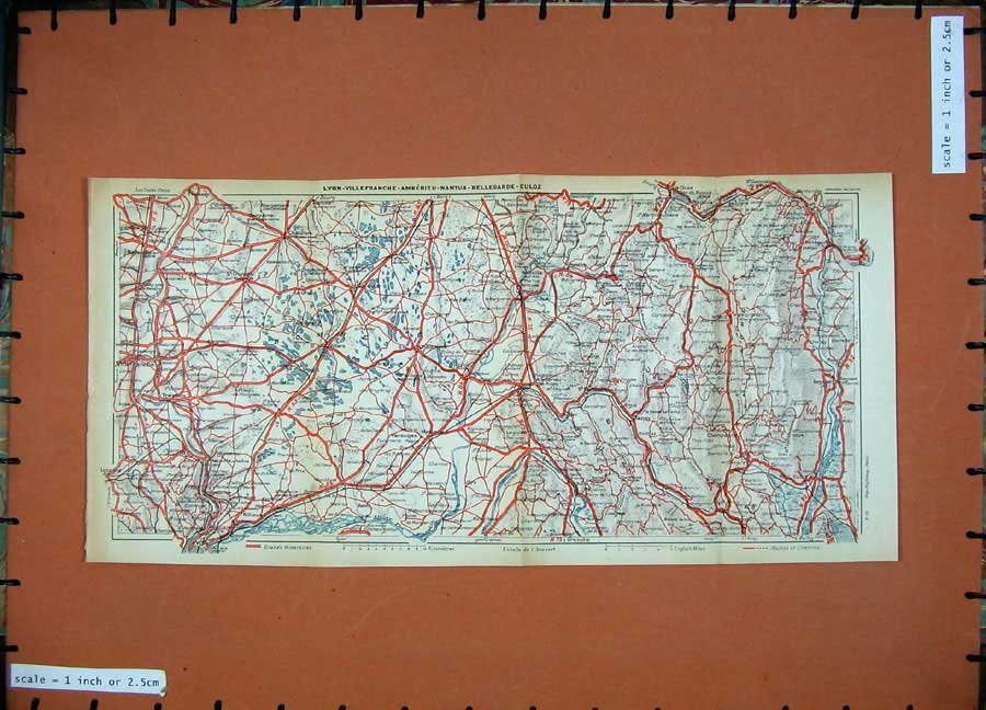 Print 1931 Colour Map Lyon France Villars Tenay Nantua Culoz 128D178 Old Original