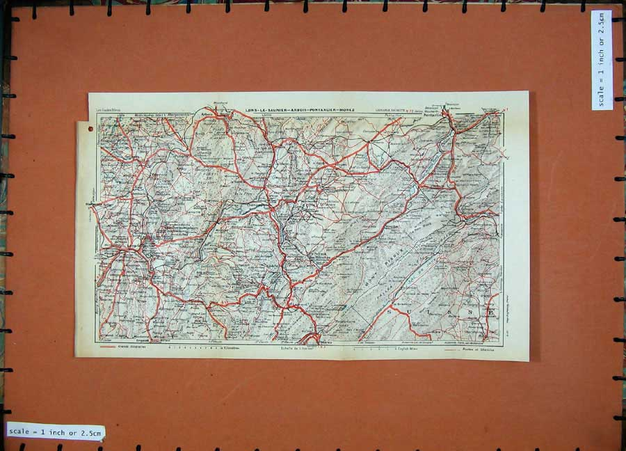 Print 1931 Colour Map France Lons-Le-Saunier Arbois Morez 130D178 Old Original