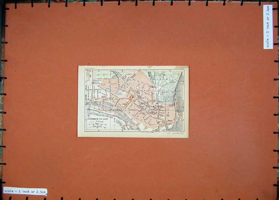 Print 1928Colour Map Paris France Street Plan Germain-En-Laye 101D179 Old Original