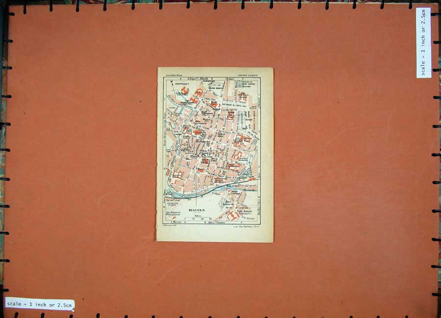 Print 1928 Colour Map Paris France Street Plan Beauvais Franc 102D179 Old Original