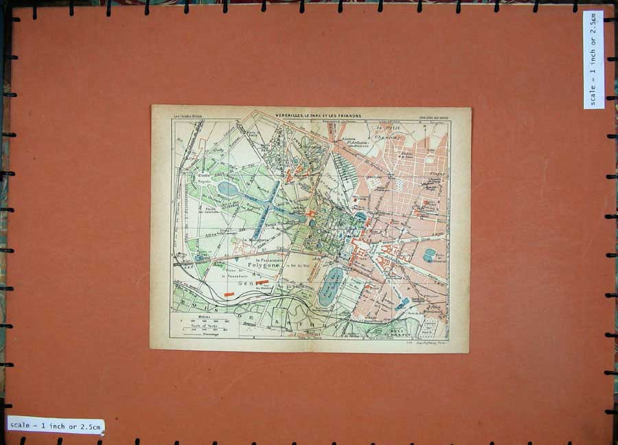 Print 1928 Colour Map Street Plan Paris France Grand Canal 103D179 Old Original