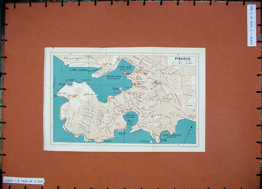 Print 1962 Colour Map Athens Street Plan Piraeus Limin Alon 106D181 Old Original