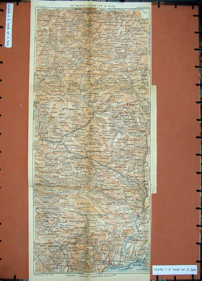 Print 1933 Colour Map Provence France Barcelonnette Nice 115Ad182 Old Original