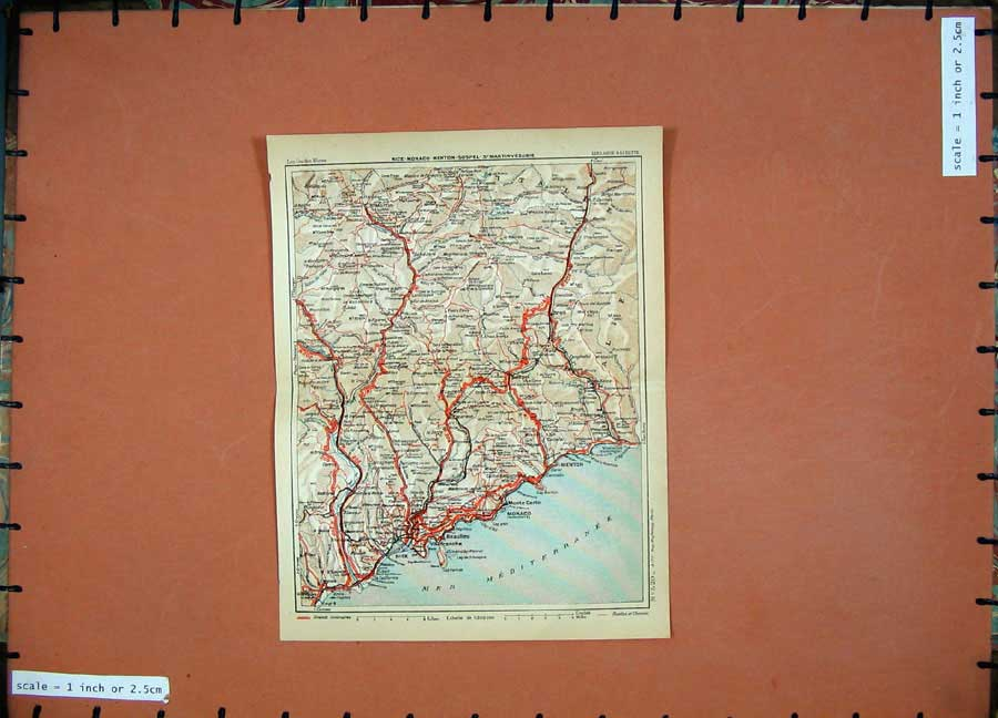 Print 1933 Colour Map France Provence Monaco Nice Menton 117D182 Old Original