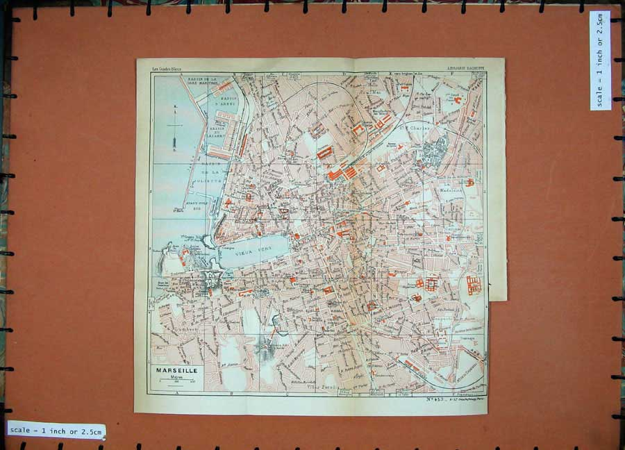 Print 1933 Colour Map Provence France Street Plan Marseille 120D182 Old Original