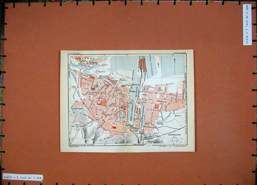 Print 1933 Street Plan Cherbourg Colour Map France Gare Port 107D183 Old Original