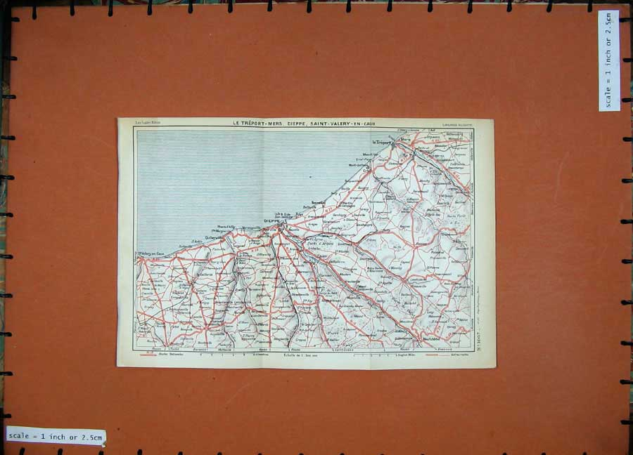 Print 1933 Colour Map France Dieppe Mers Le Treport Valery 111D183 Old Original
