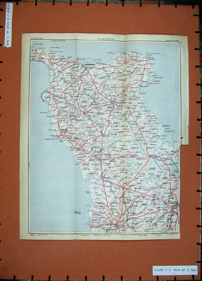 Print 1933 Colour Map France Cherbourg Coutances Silo Lessay 115D183 Old Original