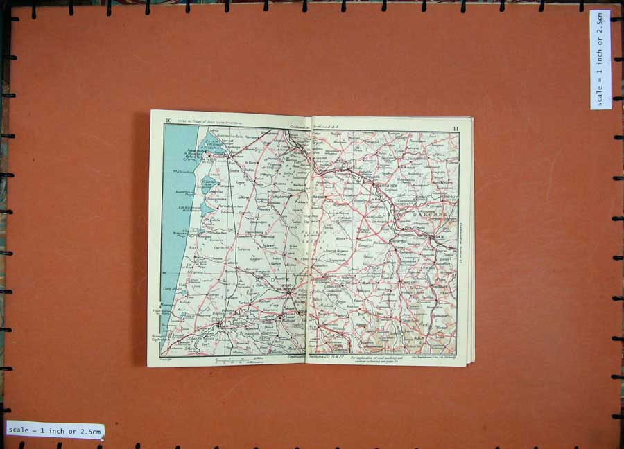 Print 1954 Map France Bordeaux Lyon Toulouse Beziers Valence 101Ad184 Old Original