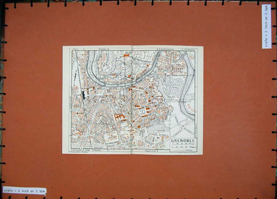 Print 1954 Colour Map France Street Plan Grenoble Ile Verte 104D184 Old Original