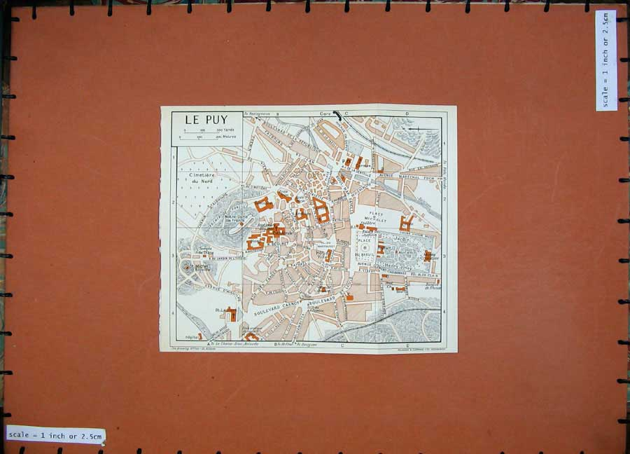 Print 1954Colour Map France Street Plan Le Puy Palais Justice 112D184 Old Original