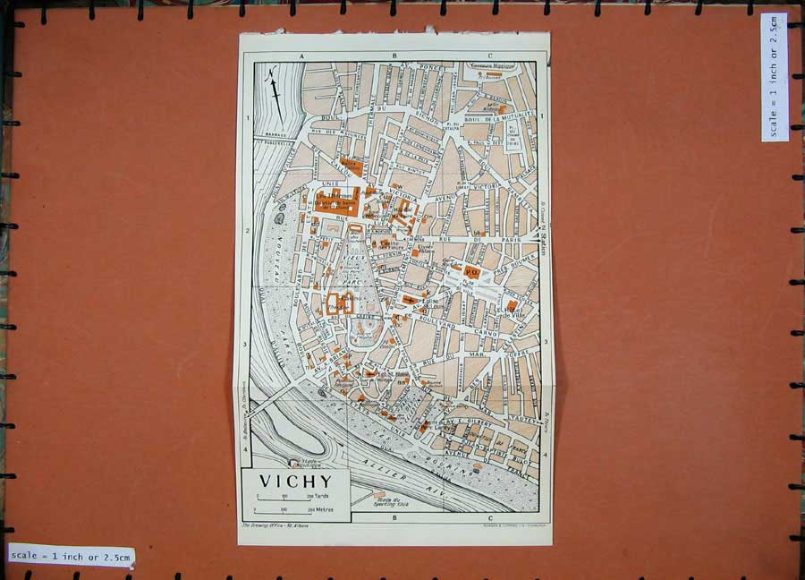 Print 1954 Colour Map France Street Plan Vichy Allier River 122D184 Old Original