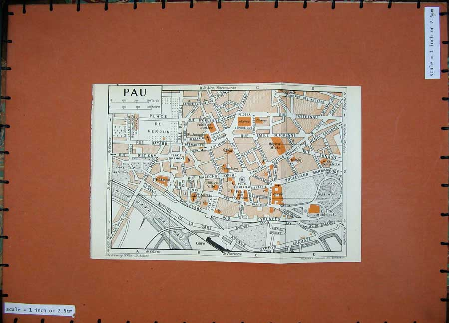 Print 1954 Colour Map France Street Plan Pau Marechal Joffre 127D184 Old Original