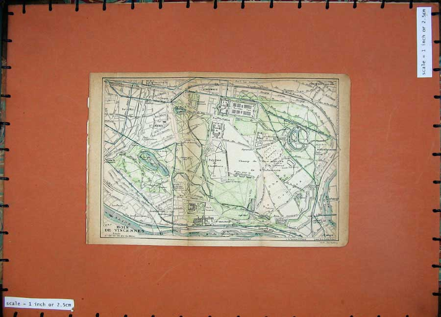 Print 1922 Colour Map Paris France Plan Bois De Vincennes 106D185 Old Original