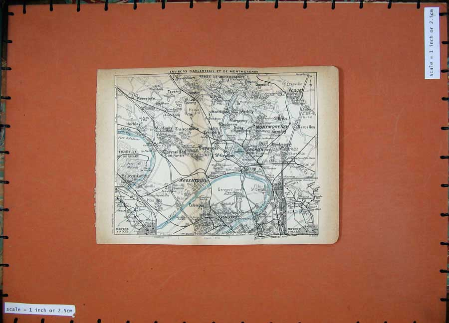 Print 1922 Map Paris France Argenteuil Montmorency Asnieres 114D185 Old Original