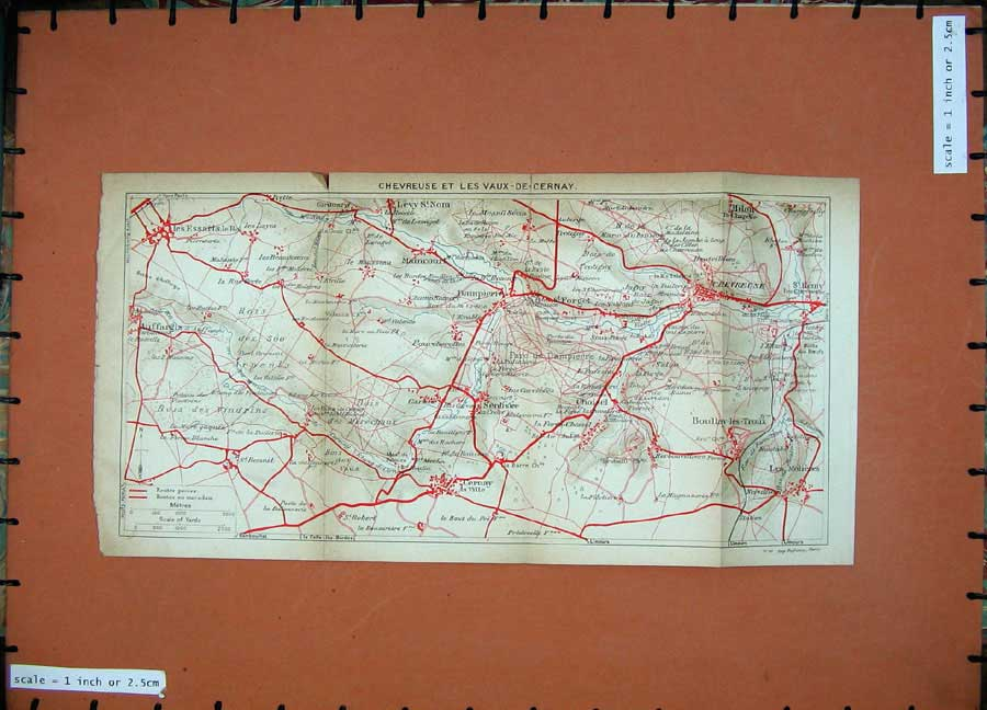 Print 1922 Colour Map Paris Chevreuse Les Vaux-De-Cernay 118D185 Old Original
