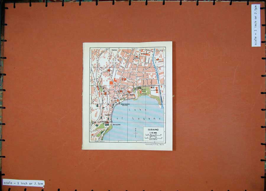 Print 1941 Colour Map Switzerland Street Plan Lugano Sassa 104D186 Old Original