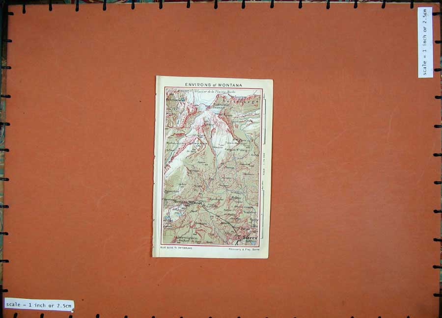 Print 1941 Colour Map Switzerland Montana Sierre Chermignon 110D186 Old Original