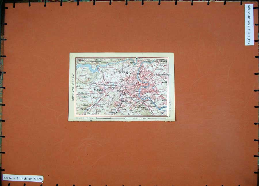 Print 1941 Colour Map Switzerland Bern Bumpliz Ostermundigen 113D186 Old Original