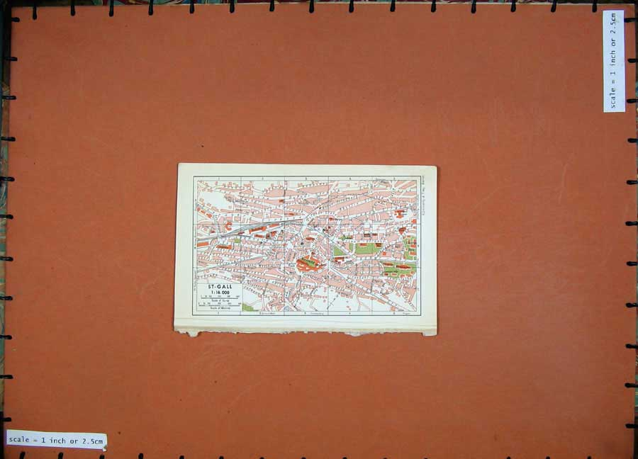Print 1941 Colour Map Switzerland Street Plan St-Gall Bahnhof 117D186 Old Original