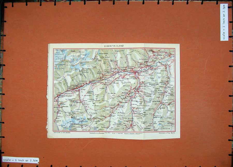Print 1941 Colour Map Switzerland Disentis Ilanz Waldhaus Piz 136D186 Old Original