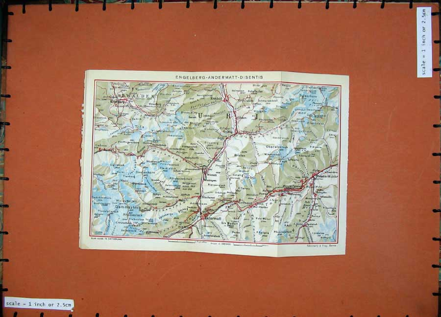 Print 1941Colour Map Switzerland Engelberg Andermatt Disentis 137D186 Old Original