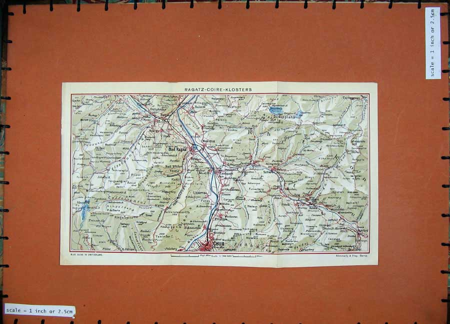 Print 1941 Colour Map Switzerland Chur Bad Ragaz Klosters 153D186 Old Original