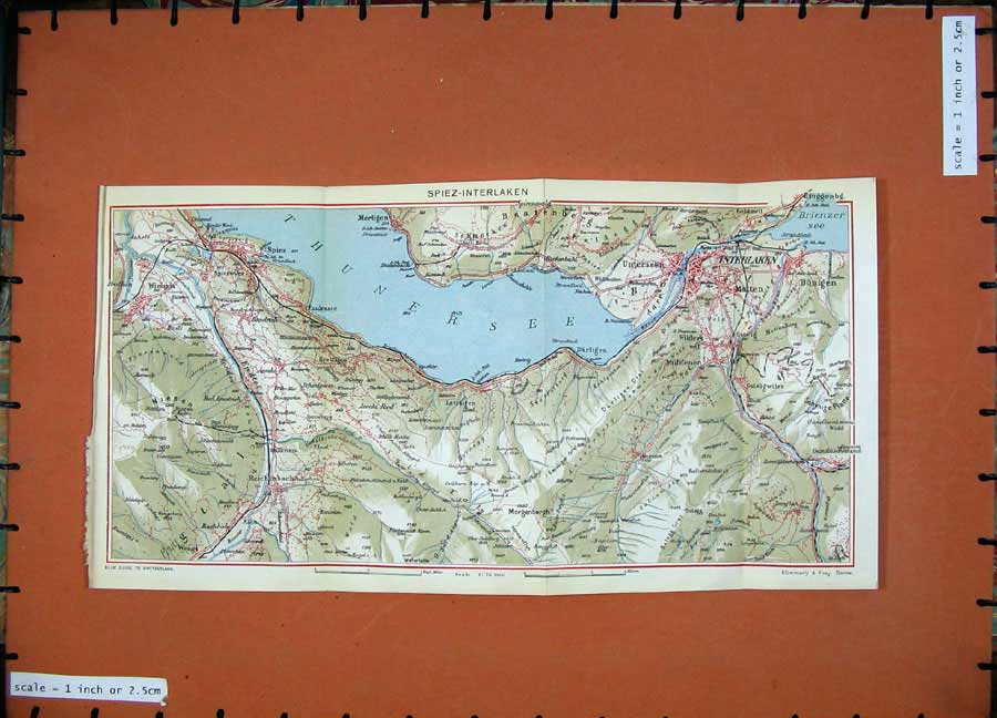 Print 1941 Colour Map Switzerland Spiez Interlaken Niesen 160D186 Old Original