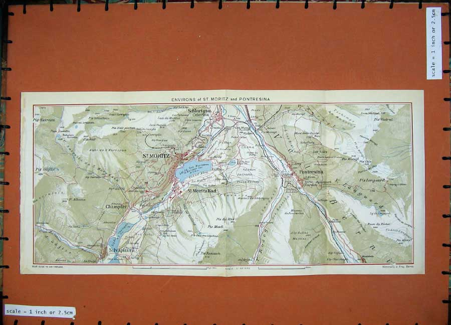 Print 1941 Colour Map Switzerland Environs Moritz Pontresina 165D186 Old Original