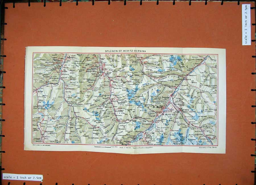 Print 1941 Colour Map Switzerland Splugen St Moritz Bernina 166D186 Old Original