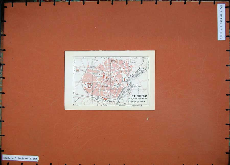 Print 1926 Colour Map France Street Plan St Brieuc Cathedral 104D187 Old Original