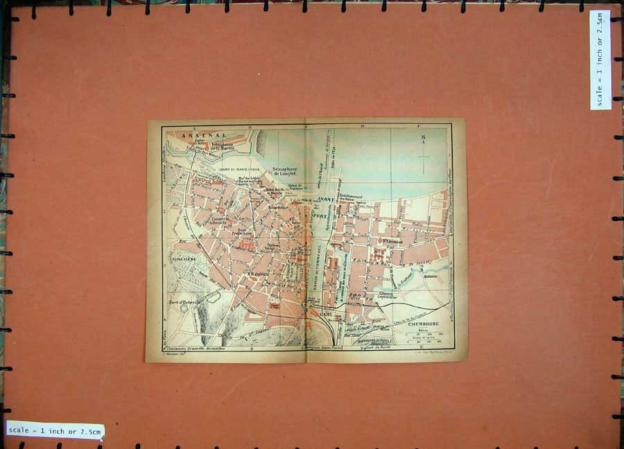 Print 1926 Colour Map France Street Plan Arsenal Cherbourg 113D187 Old Original