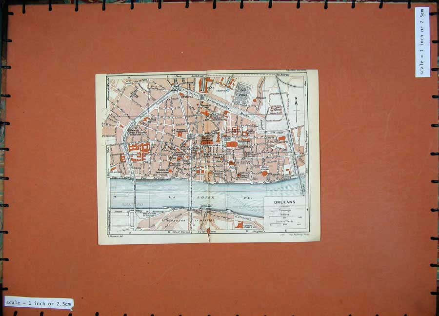 Print 1926 Colour Map France Street Plan Orleans La Loire Rue 123D187 Old Original