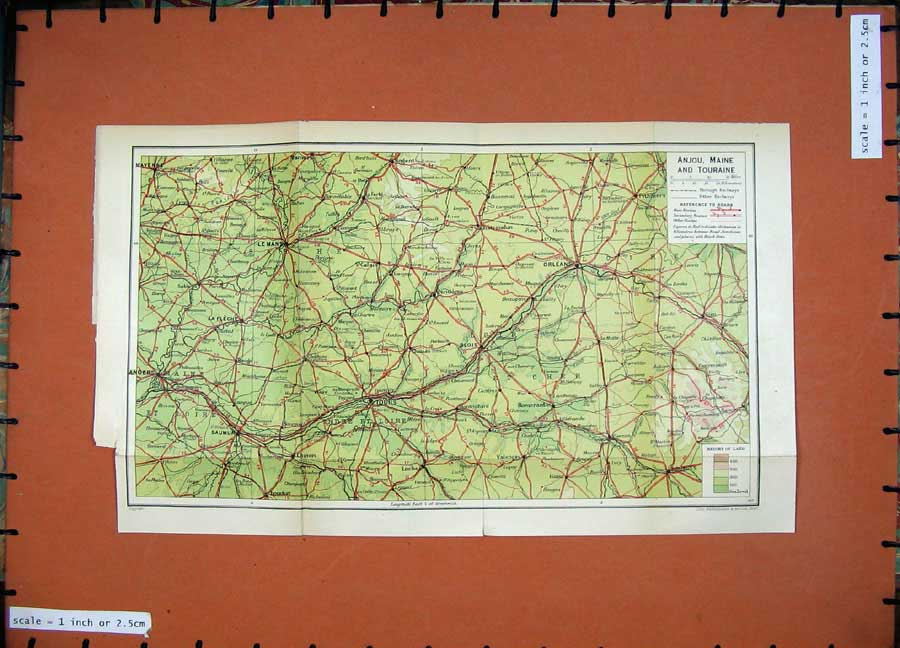 Print 1926 Colour Map France Tours Orleans Le Mans Bourges 131D187 Old Original