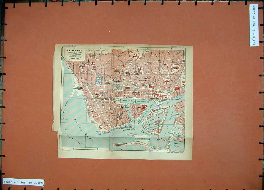Print 1926 Colour Map France Street Plan Le Havre Avant Port 132D187 Old Original