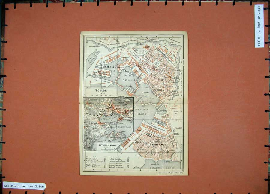 Print 1895 Colour Map France Street Plan Toulon Le Mourillon 113D188 Old Original