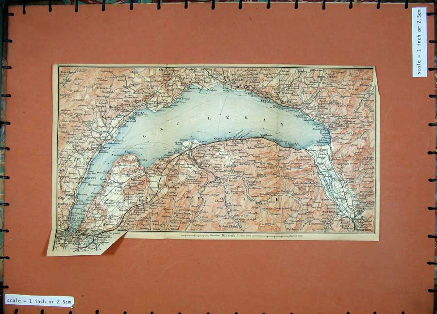 Print 1895 Colour Map France Nyon Thonon Morges Maurice Cully 116D188 Old Original