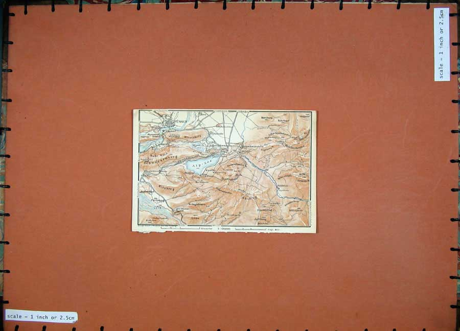 Print 1927 Colour Map Tyrol Dolomites Fussen Kitzberg Luss 103D189 Old Original