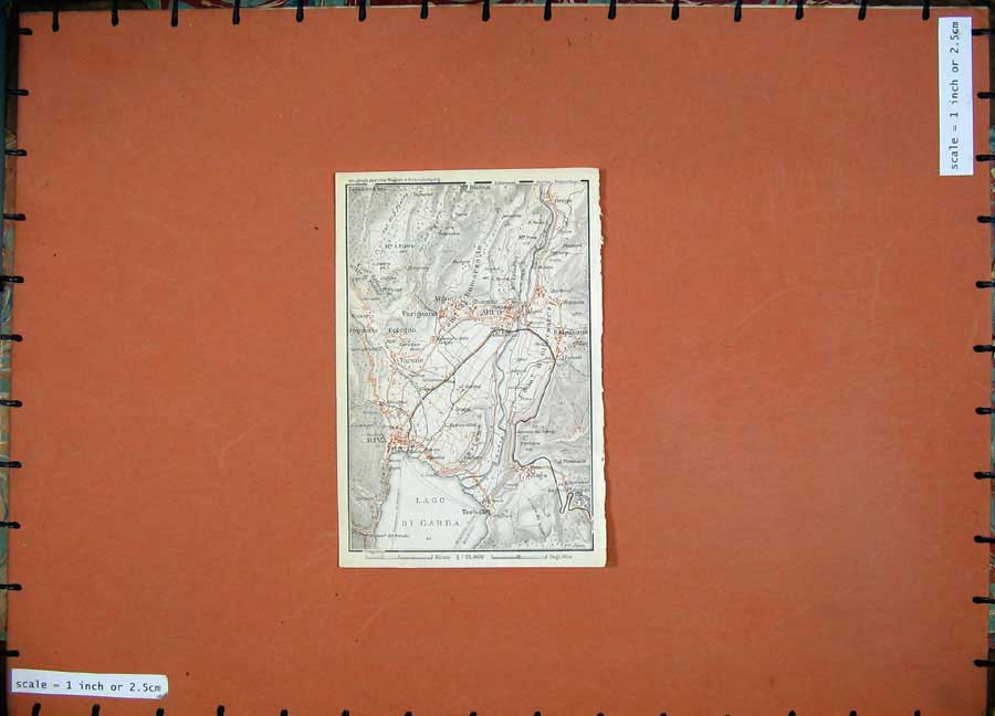 Print 1927 Colour Map Tyrol Dolomites Arco Riva Nago Vigne 107D189 Old Original