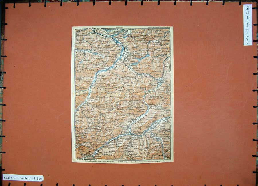 Print 1927 Colour Map Tyrol Dolomites Fussen Vils Imst Italy 110D189 Old Original