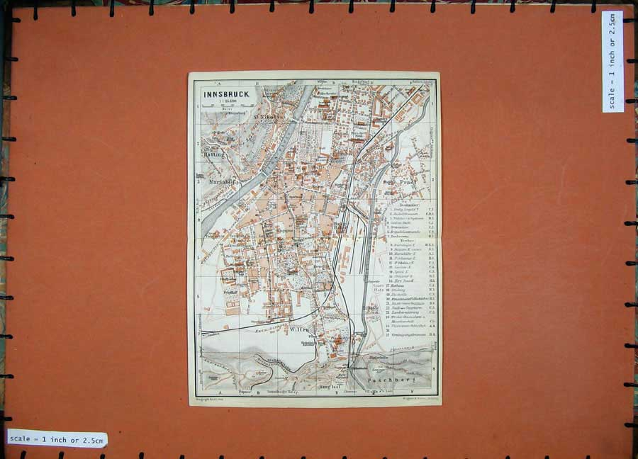 Print 1927 Colour Map Italy Street Plan Innsbruck Wilten 119D189 Old Original