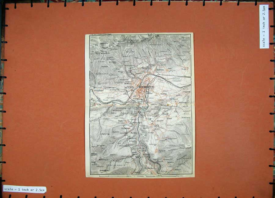 Print 1927 Colour Map Italy Plan Innsbruck Mutters Natters 120D189 Old Original