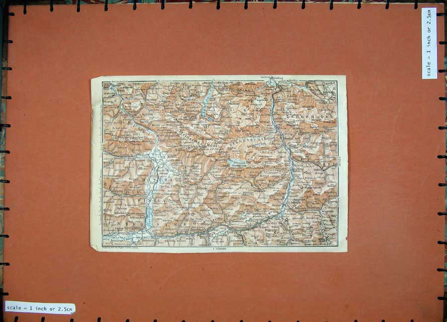 Print 1927 Colour Map Tyrol Dolomites Wagrein Veit Embach 133D189 Old Original