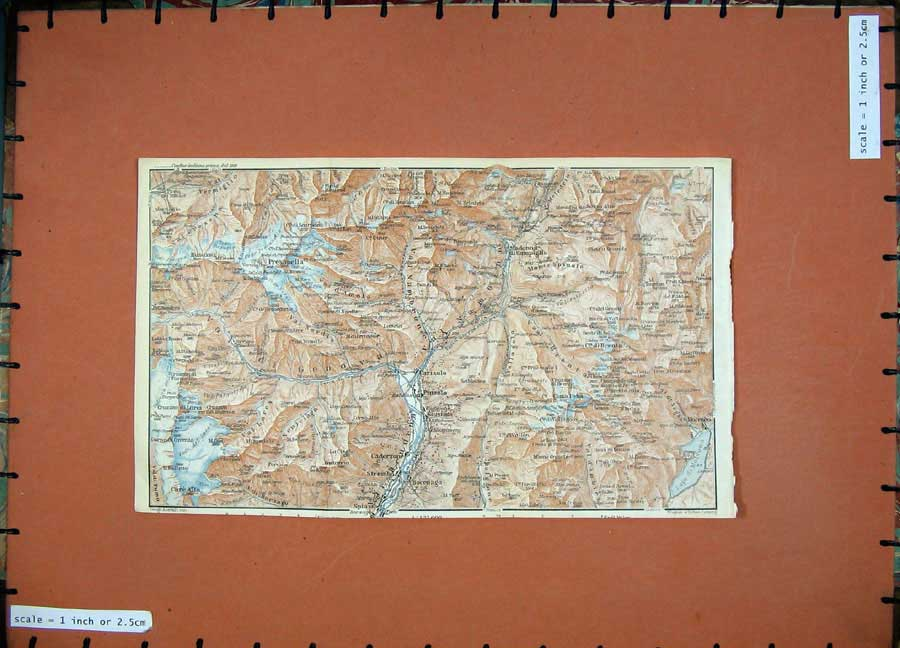 Print 1927 Colour Map Tyrol Dolomites Presanella Carisolo 152D189 Old Original