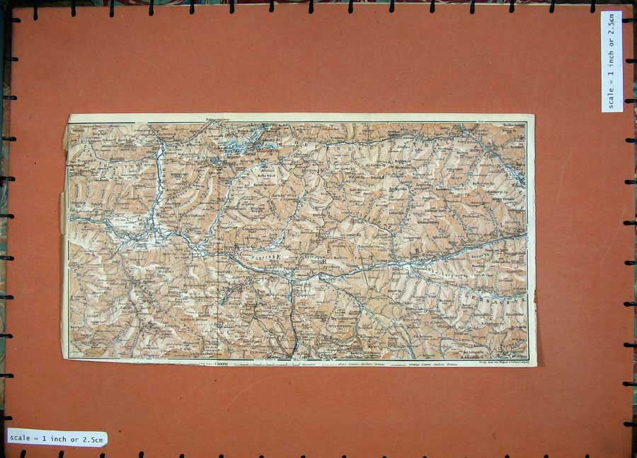 Print 1927 Colour Map Tyrol Dolomites Toblach Bruneck Rein 154D189 Old Original