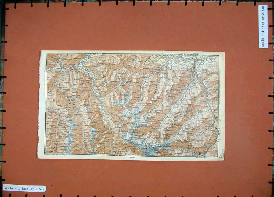 Print 1927 Colour Map Tyrol Dolomites Mountains Innsbruck 157Rd189 Old Original